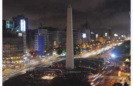 The Buenos Aires' Obelisk is seen during Earth Hour
