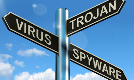 Virus Trojan Spyware Signpost Shows Internet Or Computer Threats