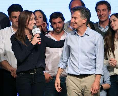 zzzznacp2 NOTICIAS ARGENTINAS BAIRES, OCTUBRE 25: Mauricio Macri y Maria Eugenia Vidal en el bunker de Cambiemos. Foto NA: Marcelo Capece zzzz