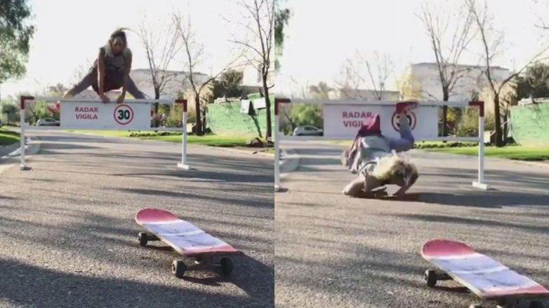 La tremenda caída de Noelia Marzol mientras hacía skate