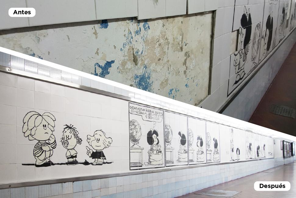 Antes y después. Restauracioìn mural Mafalda