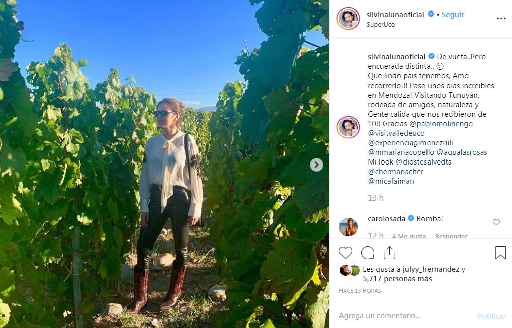 El curioso mensaje de Silvina Luna tras regresar a los viñedos