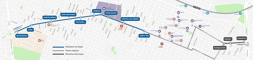 Mapa Metrobus extensión Ruta 8 con gris